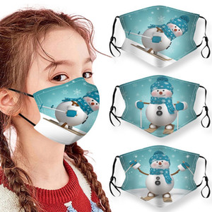 Christmas party Gift Kids Face Masks Printed Xmas Face Masks Anti Dust fog Snowflake Mouth Cover Breathable Washable Accessories Reusable