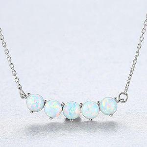Collier de mode Femmes Silver 925 Opal Collier 4mm Opels Sterling Silver Secklace Fine Jwelry Mariage cadeau1
