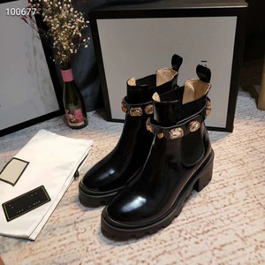 Hot Sale- Leather designer women's ankle boots with loose sides, detachable resplendent crystal and carved trim with 6 cm high