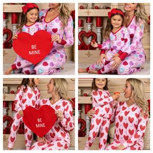 Saint-Valentin Heart Heart Imprimé Pajamas Pajamas Vêtements Housses à manches longues + pantalon lâche 2pcs Ensembles Mom Filles Pyjamas Home Tissu G10801