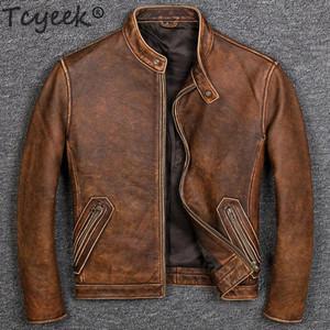 Tcyeek 100% натуральная кожа Пальто для мужчин осени зима 2020 Streetwear Подлинной Коровы кожи куртка мужской Fit Мото Байкеры пальто 681