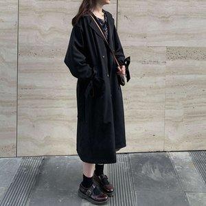Hepburn windbreaker women's middle long British style autumn 2020 new Korean version small overcoat