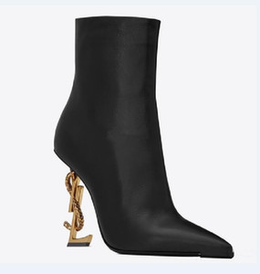Fall Black Real leather Wedding Bridal Shoes OPYUM Snake Heels Pointed Toe Letters High Heels Pumps Ladies Boots Designer DHgate