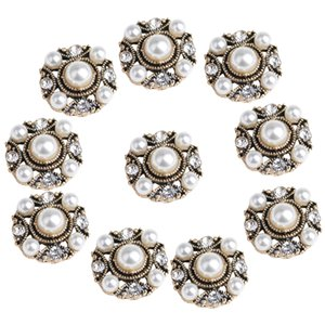 10 Piece Antique Gold Round Alloy Pearl Embellishment Craft Button for Jewelry Making 18mm