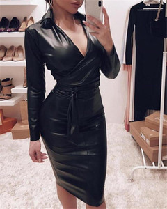 Neck Slim Sexy Long Sleeve Bodycon Dress Autumn Solid Color Women Pencil Dresses PU Leather Casual Dresses Womens V