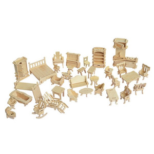 Miniature 1:12 Dollhouse Furniture for Dolls,Mini 3D Wooden Puzzle DIY Building Model Toys for Children Gift Y200428