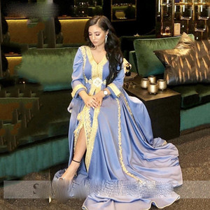 Satin Moroccan caftan Evening Dresses V Neck Lace Mother Dress Arabic Muslim Special Occasion Dresses Prom Party Gowns