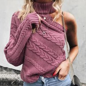 One Shoulder Twist Knitted Female Sweater Sexy Turtleneck Long Sleeve Womens Sweaters 2020 Spring Autumn Vintage Women Pullover