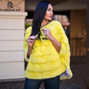 Fursarcar Real Mink Piel de piel de cuero genuino Poncho Natural Otoño Invierno Mujeres Real Piel de lujo Ropa de lujo para mujer Outerwear 201103