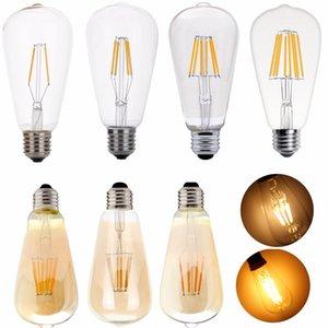 ST64 4W 6W 8W Edison LED Нить лампы лампа 220V E27 Урожай Античная ретро Эдисон Bombillas ампул заменить лампы свет