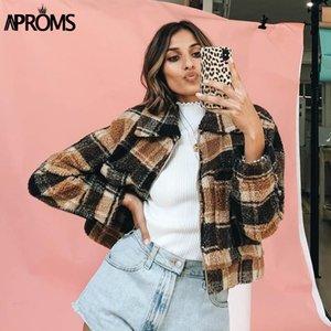 Aproms Vintage Brown Plaid Trucker Jacket Women Autumn Winter Warm Teddy Basic Cropped Coat Female Streetwear Fashion Outerwear Y1112