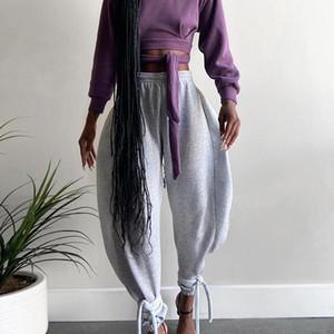 Gray Women High Waist Pants Bandage Loose Wide Leg Trouser Autumn Streetwear Fashion Warm Joggings Casual Sweatpants