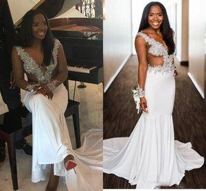 2021 Sexy South African Women Girls Wedding Dress Cutaway Sides Illusion Long Sleeves Sequins Applique Beaded Bridal Gowns Vestido De Novia