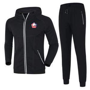 Lille Olympique Sporting jaqueta 2,020 fato de treino de futebol de outono e inverno casuais desgaste esportes longos dos homens dos homens que executam o fato de treino desgaste