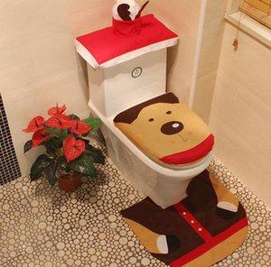Covers Weihnachten WC Sankt bedrucktes Toilettenabdeckung Teppich Tankdeckels 3 Sätze Art und Weise Weihnachten Toliet Dekoration-Partei-Geschenk-Großverkauf FWB1451