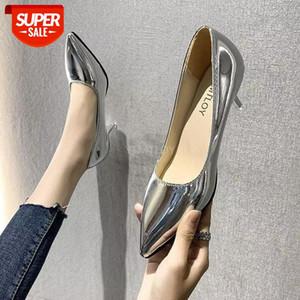Ytmtloy mujeres bombas zapatos nuevo oro patente de cuero puntiagudo puntero sexy tacones altos oficina oficina zapatos rojos mujer # b41r