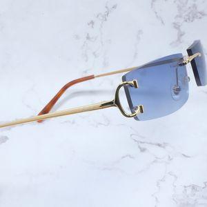 Small Summer Sunglass Cheaper Sunglasses Metal Carter Big Wire Eyewear Sun Glasses Shades Square Rimless Women Accessories Luxury Men C Osls