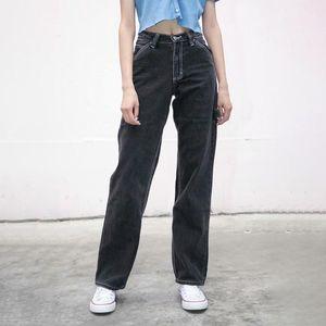 Unque ragazze vintage slim black jeans 2021 primavera-autunno moda ladies a vita bassa streetwear pantaloni denim pants chic donne pant1