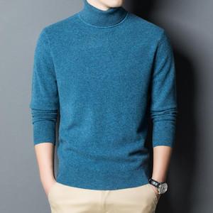 Homens 100% Wool Sweater 2020 Inverno de malha gola Pure caxemira Camisolas Camisolas