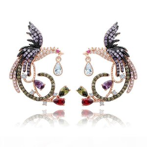 Shining Colorful Zircon Drop Earrings Chinese Phoenix Fine Jewelry Wedding Dangle Earrings for Women Gril Gift