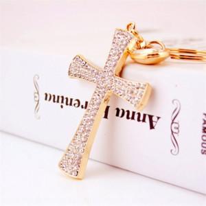 0HDX7 Christian water drop inlaid diamond cross key Pendant diamondaccessories Diamondchain metal pendant women's bag accessories key chain