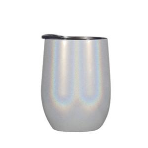 10 Farben 12 Unzen Glitter Wine Tumbler mit Lids Strohhalme Edelstahl-Regenbogen-Ei formte Tassen Double Layer Vacuum Big Belly-Becher-Glas DWA1765