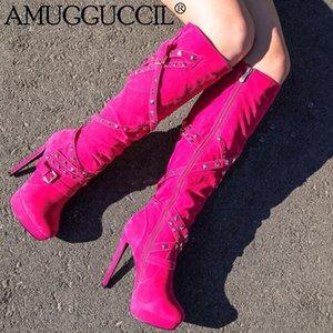 2020 New Plus Big Size 35-52 Rose-red Revits Buckle Fashion Platform Knee High Heel Autumn Winter Female Lady Women Boots X1930