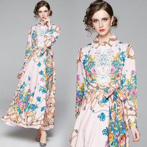 2020 Designer Runway Women Classic Luxury Floral Printed Sash Party Casual Maxi Dress Fashion Ladies Business Office Evening Shirt Dresses