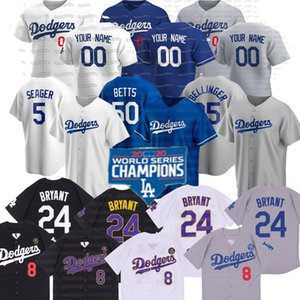 50 Mookie Betts Los Angeles 2020 World Series Campeões 8 24 Bryant Cody Bellinger Seager Lux Kershaw Turner Muncy Buehler Kelly Jersey