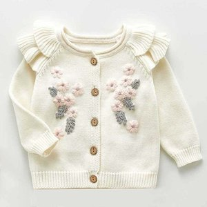 Baby Sweater Fashion Petals collar Knitted Cardigan Jacket Baby Sweater Coat Girls Cardigan Girls Autumn Winter Sweaters Y200831