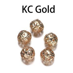 10 200pcs Lot 4 20mm Gold Métal Round Spacer Beads Perle creuse de filigrane pour bricolage Bracelet Collier Collier Bijoux Fournitures H Bbycides