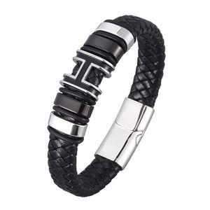 Pulseira de couro trançada genuína para homens ímã de aço inoxidável fecho H charme tecidos pilhas na moda pulseira masculina jóias SP0977