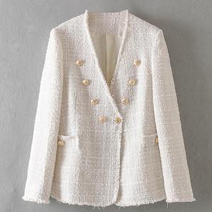 Chaqueta Lana Mezclas Mezcla de lana chaqueta de la capa 2020 del diseñador del botón de doble botonadura de metal de la chaqueta capa de las mujeres de manga larga