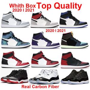 2021 Yeni Basketbol ayakkabıları Üst Kalite Gerçek karbon fiber 1 Yüksek Kraliyet Burun Mahkeme Mor Beyaz Kraliyet Burun Concord 11 Space Jam 11s