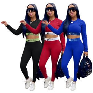 Fashion Women Tracksuit Letter Print Long Sleeve Crop Tops + Pants Two Pieces Set Leggings Bodycon Autumn Top Quality Sportswear Suit Sale