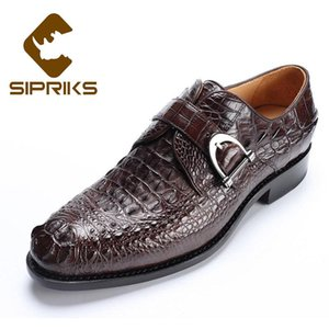 Sipriks Imported Brown Crocodile Leather Shoes Mens Luxury Buckle Strap Dress Shoes Italian Custom Goodyear welt Gents Suit Shoe