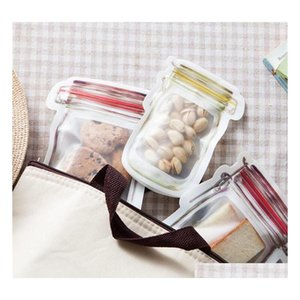 resuable food storage bags stand up mason jar shaped zipper airtight sealing bags food storage container for snacks cookie candy bag zegro