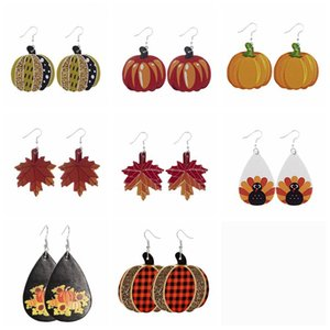 Женщины серьги День благодарения Кожа серьги Halloween кожа серьги Pumpkins Water Drop серьги Party Favor DHB2619