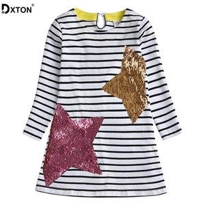 DXTON Vestido de algodón para chicas Stripe de manga larga vestidos de niños invierno y otoño niños pequeños vestigios lentejuelas niños niñas ropa 201029