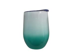 Copo de vinho 12oz com tampa de aço inoxidável ovo em forma de copos de parede dupla isolado vácuo de vácuo tinto vidros sem stemless canecas EWD2279