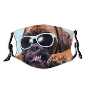 Close On Dogs Head Sunglasses Showing Abstract Dog Face Mask with Replaceable Filters Activated Carbon Mask