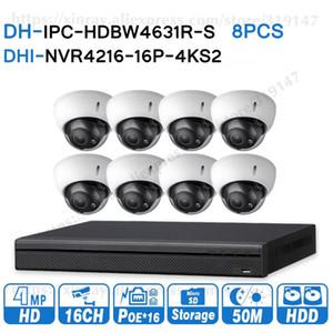 Kits de caméra sans fil Dahua 6MP 16 + 8 Système de vidéosurveillance de sécurité 8pcs IP IP IPC-HDBW4631R-S 16Pe 4K NVR NVR4216-16P-4KS2 Surveillance