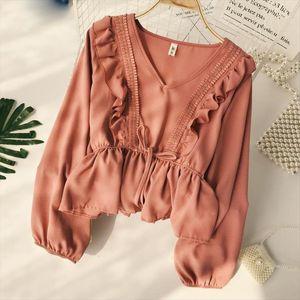 Drawstring Sash Ruffles Women Blouse V neck Lace Patchwork Vintage Blusa 2020 Spring Summer Solid Slim Fashion Tops Lady