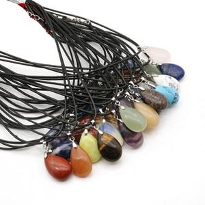 Natural Stone Pendants Necklaces Water Drop Shape Pendant Healing Crystals Amethyst Quartz Bead Chakra Healing Point Necklaces BWD2492