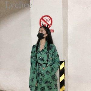 Личи Harajuku Дракон печати Женщины блузка рубашка Turn Down Воротник с длинным рукавом лето весна Сыпучие цвет блока Lady Блузка рубашка 201013