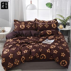 Conjunto de cama 4 pçs / set 21style folha de cama fronha de capa de edredão sets stripe aloe algodão cama set home cama têxteis produtos 201116
