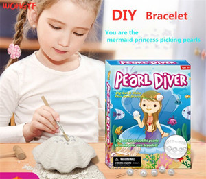 Hot children's puzzle DIY assembly model archaeological dig toy excavation Shell Pearl Bracelet for girl children Blind box