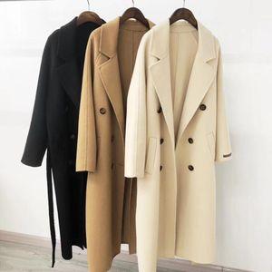 Autumn Le donne di lana del cappotto gira giù Doppio Petto Lungo Cappotto Camel donne cappotto caldo Casaco Feminino 200930