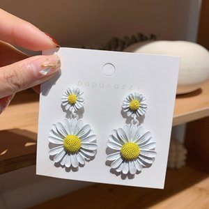Fashion shiny side new design fashion brand jewelry exaggerated colorful daisy earrings for women fine holiday summer earring