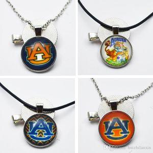 10pcs NCAA Auburn Tiger Team Sports Colar Pingente encanto jóias rodada 25 milímetros de vidro Tempo Gem para fãs de esportes Colar Pingente